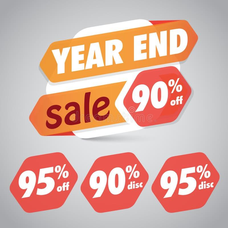 Eind van het jaarverkoop 90% 95% van Kortingsmarkering voor Marketing Kleinhandelselementenontwerp vector illustratie