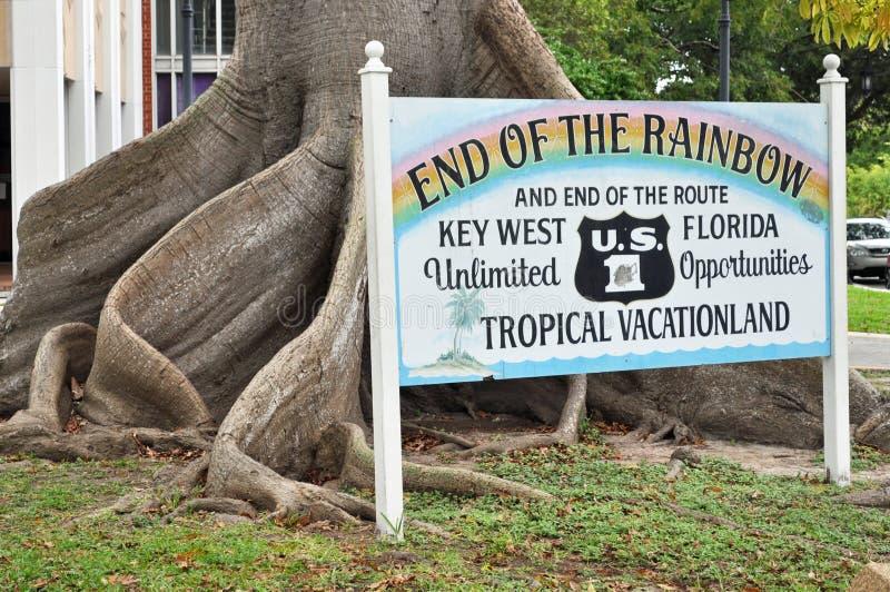 Eind van het Regenboogteken stock afbeeldingen