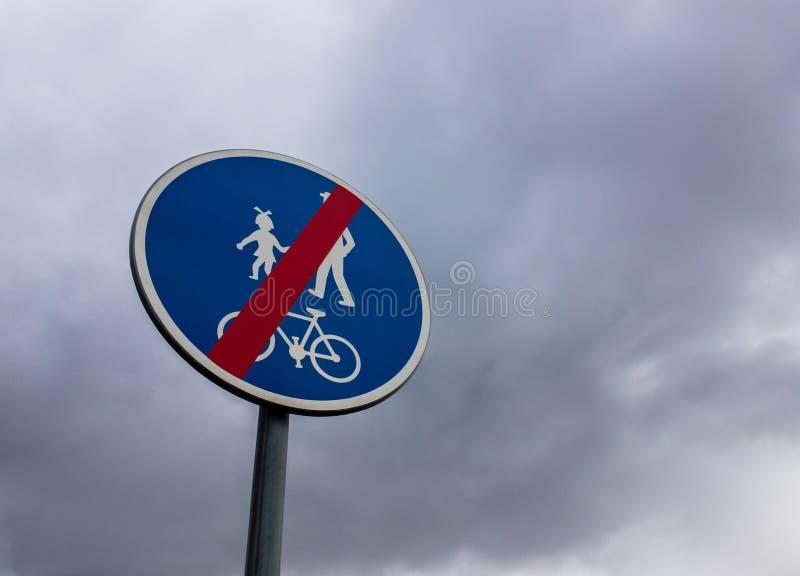 Eind van het teken van de fietsstreek stock afbeelding