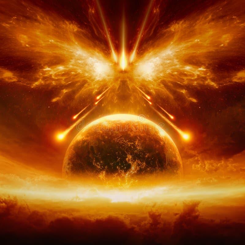 Eind van wereld, volledige vernietiging van aarde vector illustratie