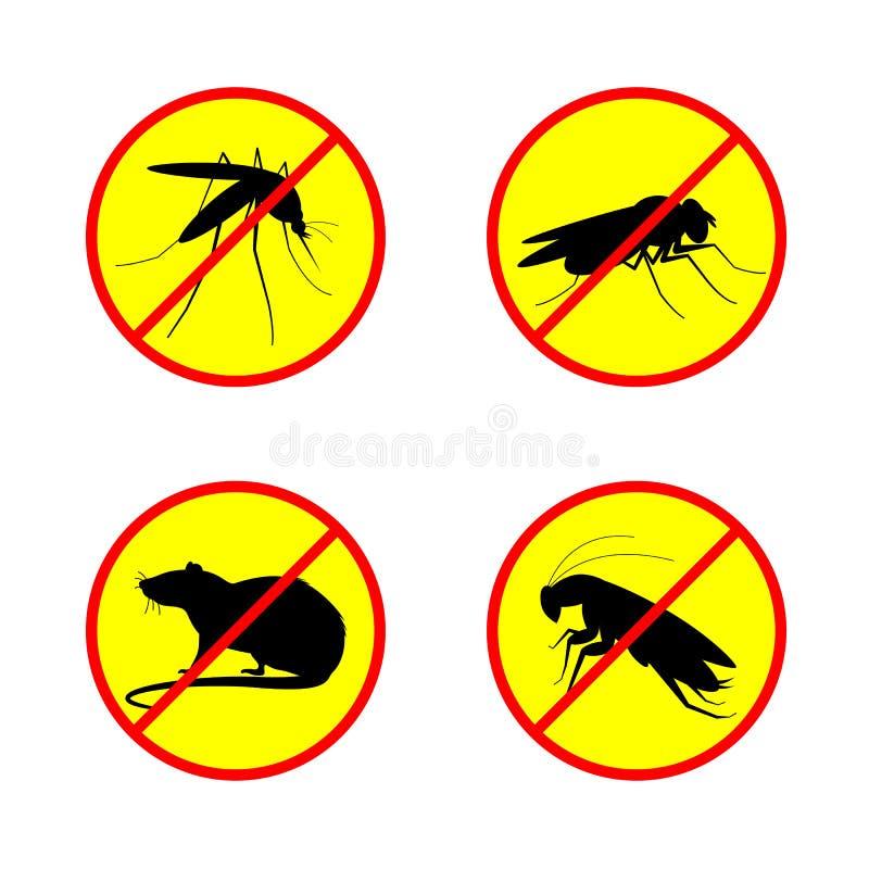 Einde of geen tekencirkel met de kakkerlak en de Vlieginsect vector vastgesteld ontwerp van de rattenmug royalty-vrije illustratie