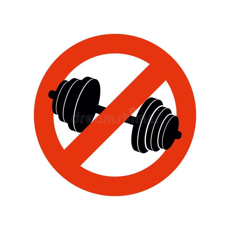 Einde het bodybuilding Verbodssport Het belemmeren van teken voor geschiktheid vector illustratie