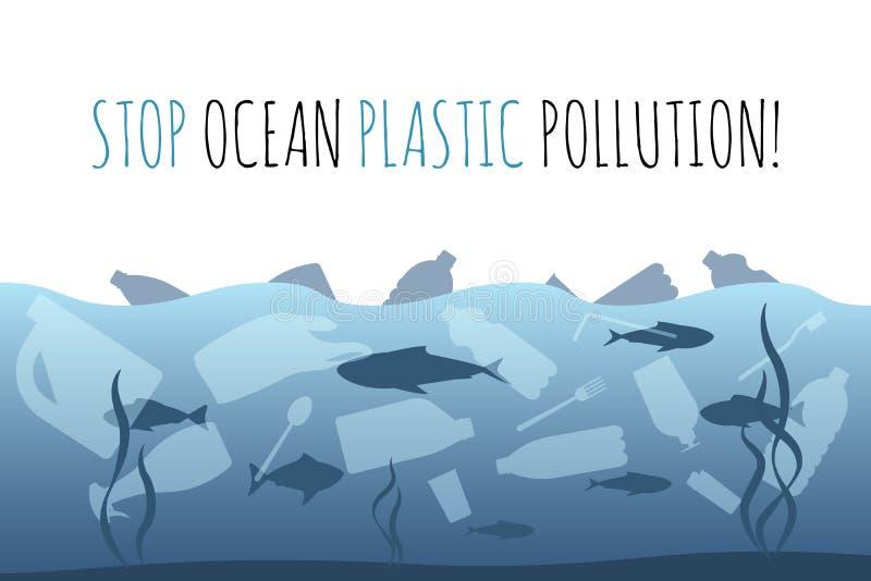 Einde oceaan plastic verontreiniging Plastic vuilniszak, fles in het oceaan grafische ontwerp Creatieve het probleem van het wate royalty-vrije illustratie