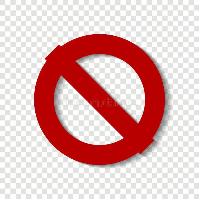 Einde vectorpictogram Omcirkel kruisen-uit Rood eindeteken waarschuwing stock illustratie