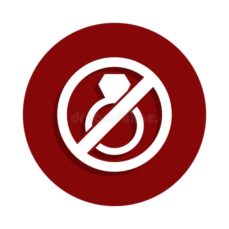 Einde of verbodshuwelijk, belemmerd tekenpictogram in kentekenstijl Één van het pictogram van de Dalingsinzameling kan voor UI, U royalty-vrije illustratie