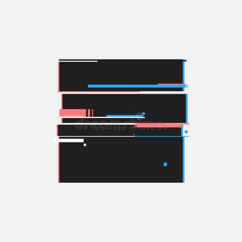 Eindeknopen in glitch stijl Abstract minimaal malplaatjeontwerp voor het brandmerken Moderne achtergronddekkingsaffiches, banners royalty-vrije illustratie