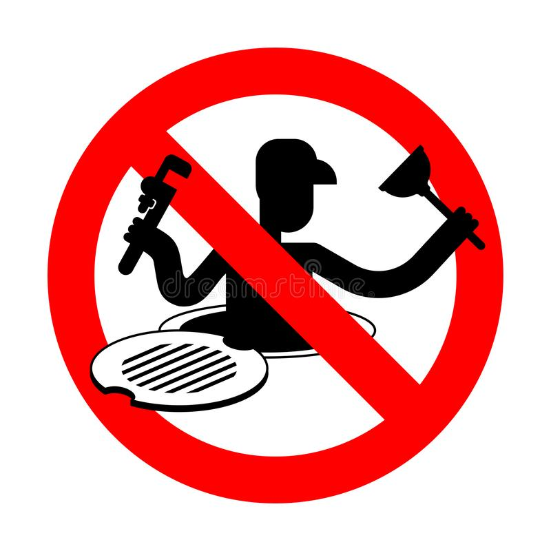 Eindeloodgieter in Riool Rood weg Verbiedend teken Verbods Werkende collector stock illustratie