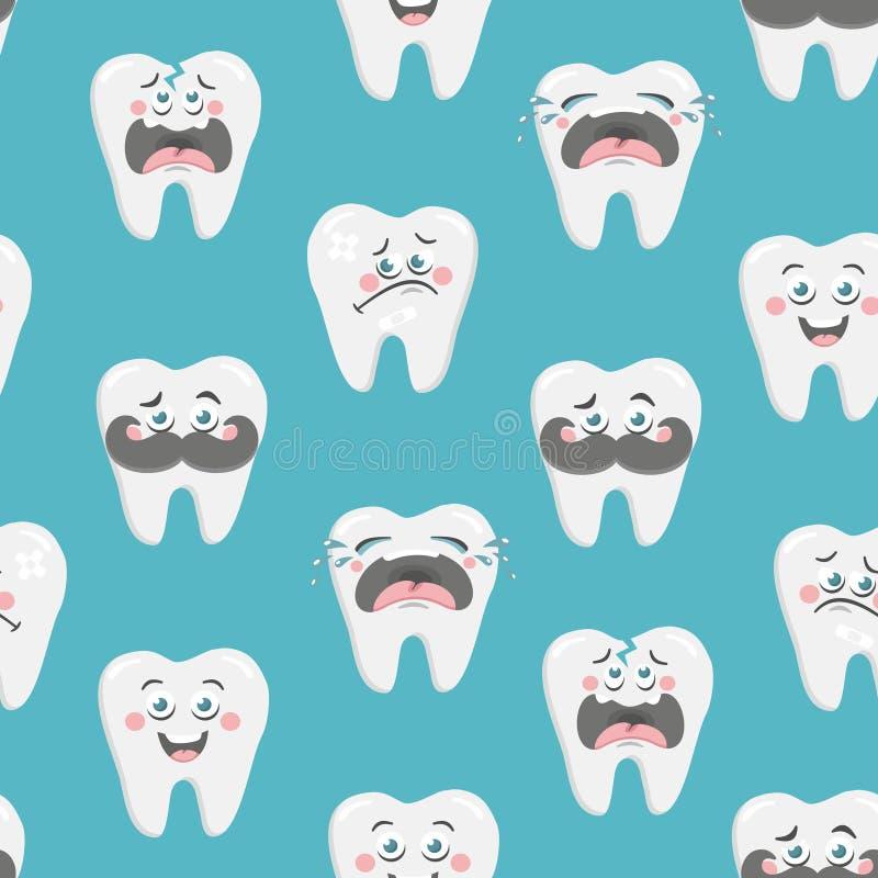 Eindeloos behang met emotionele tanden Vector art royalty-vrije illustratie