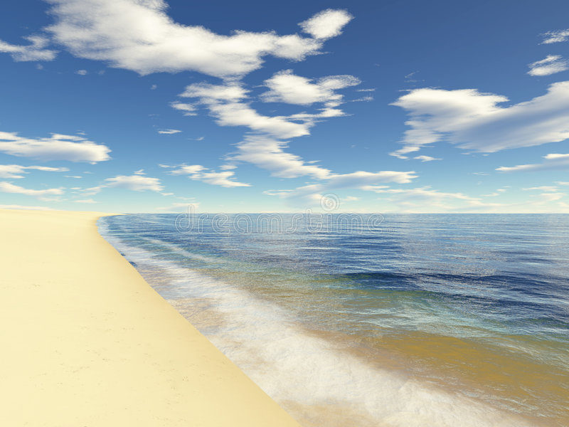 Eindeloos strand 2 stock illustratie