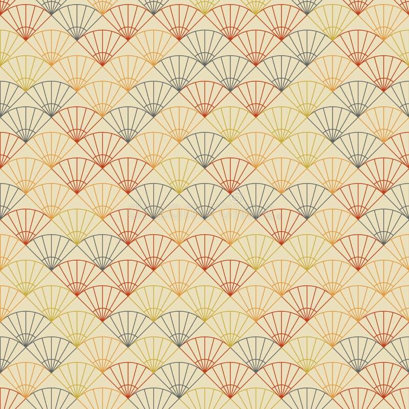 Eindeloos ventilatorpatroon Gebaseerd op Traditioneel Japans Borduurwerk vector illustratie