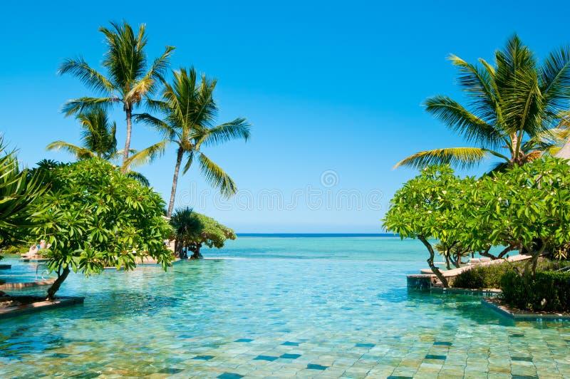 Eindeloos Zwembad in paradijs royalty-vrije stock afbeeldingen