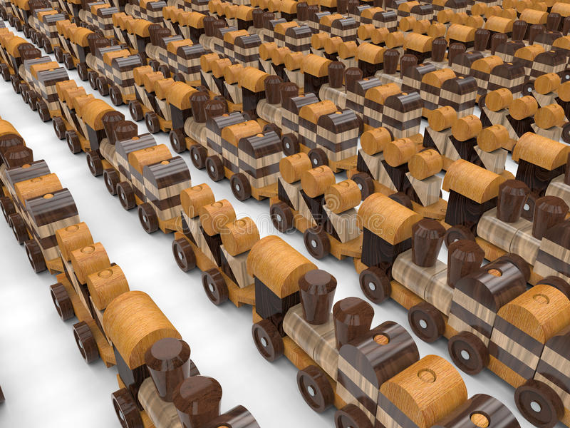 Eindeloze houten stuk speelgoed treinen stock illustratie
