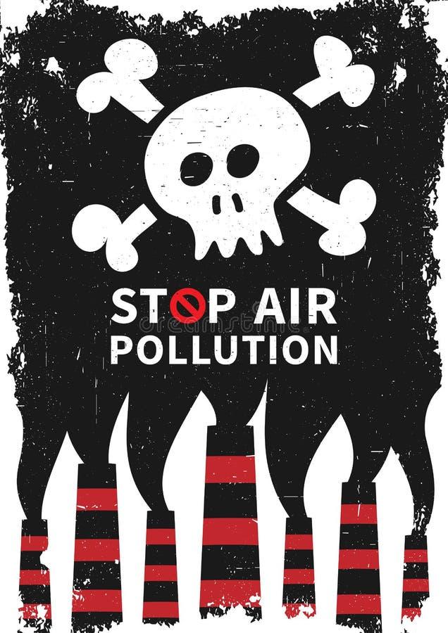 Eindeluchtvervuiling met schedel vectorillustratie vector illustratie