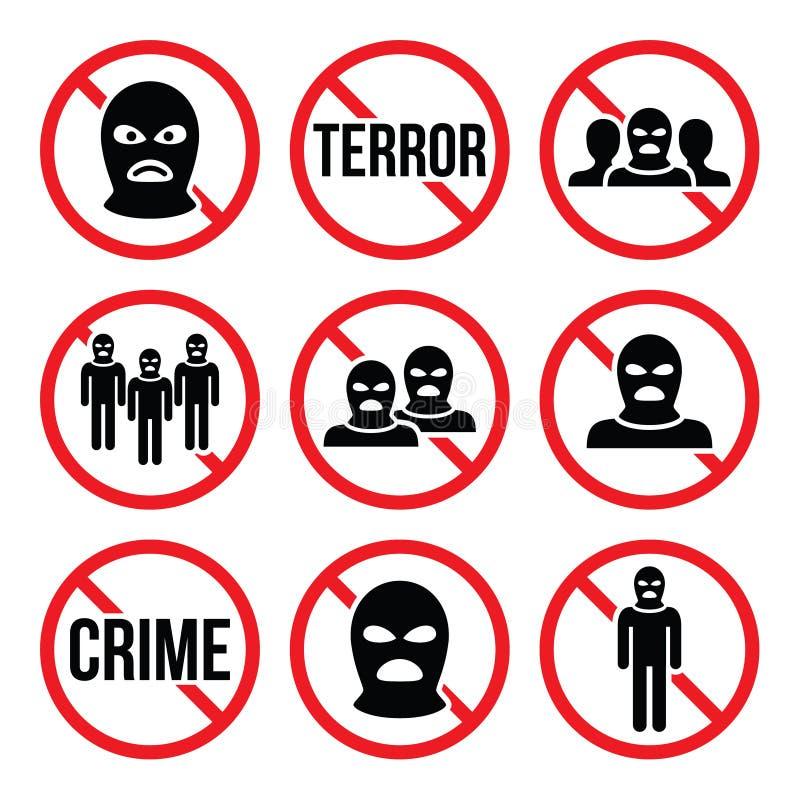 Eindeterrorisme, geen misdaad, geen terroristische groepwaarschuwingsborden royalty-vrije illustratie