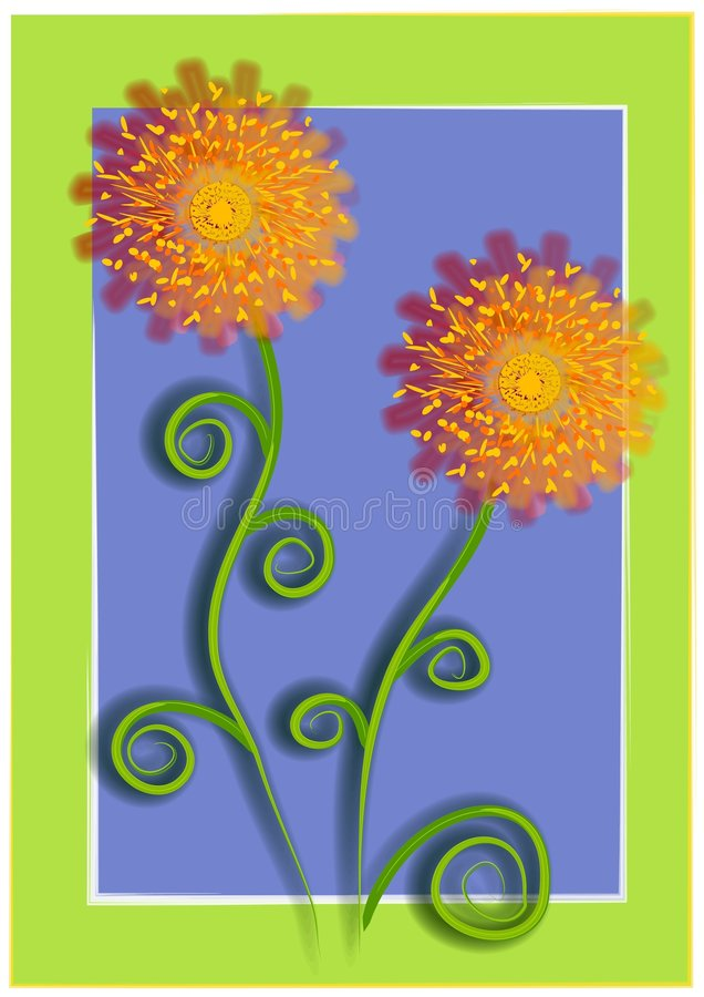 Eindeutige Blumen auf blauem Grün 2 stock abbildung