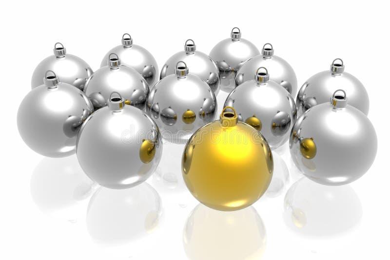 Eindeutige goldene Weihnachtsdekoration vektor abbildung