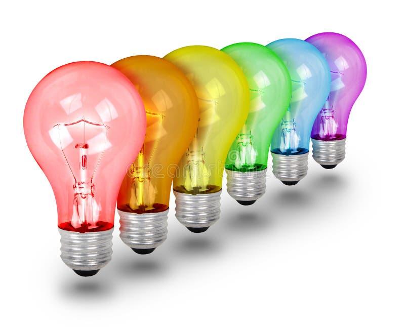 Eindeutige Ideen-Glühlampen auf Weiß stockbild