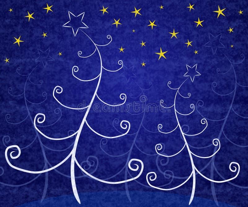 Eindeutige Weihnachtsbäume blau lizenzfreie abbildung