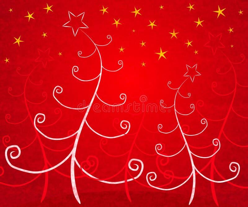 Eindeutige Weihnachtsbäume rot lizenzfreie abbildung