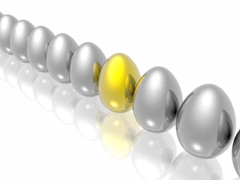 Eindeutiges goldenes Ei stock abbildung