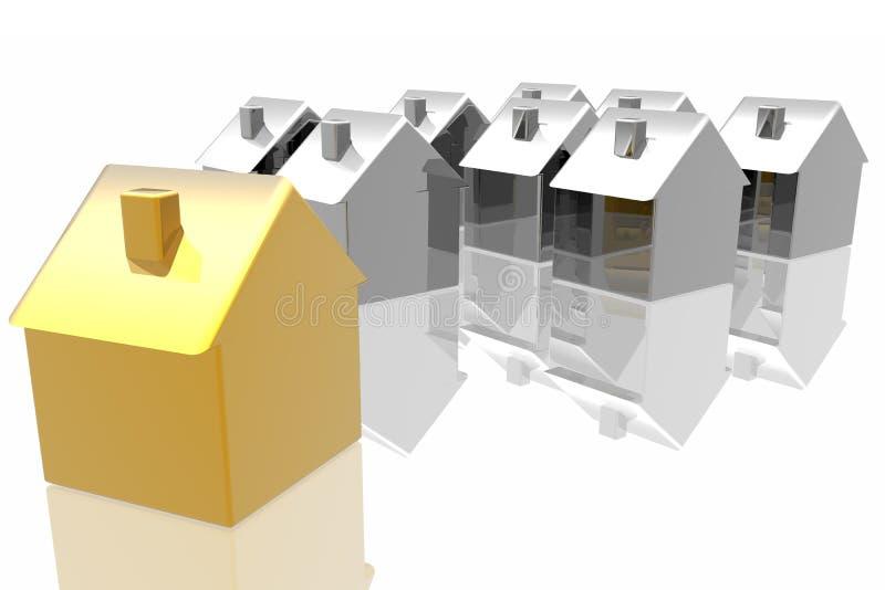 Eindeutiges goldenes Haus stock abbildung