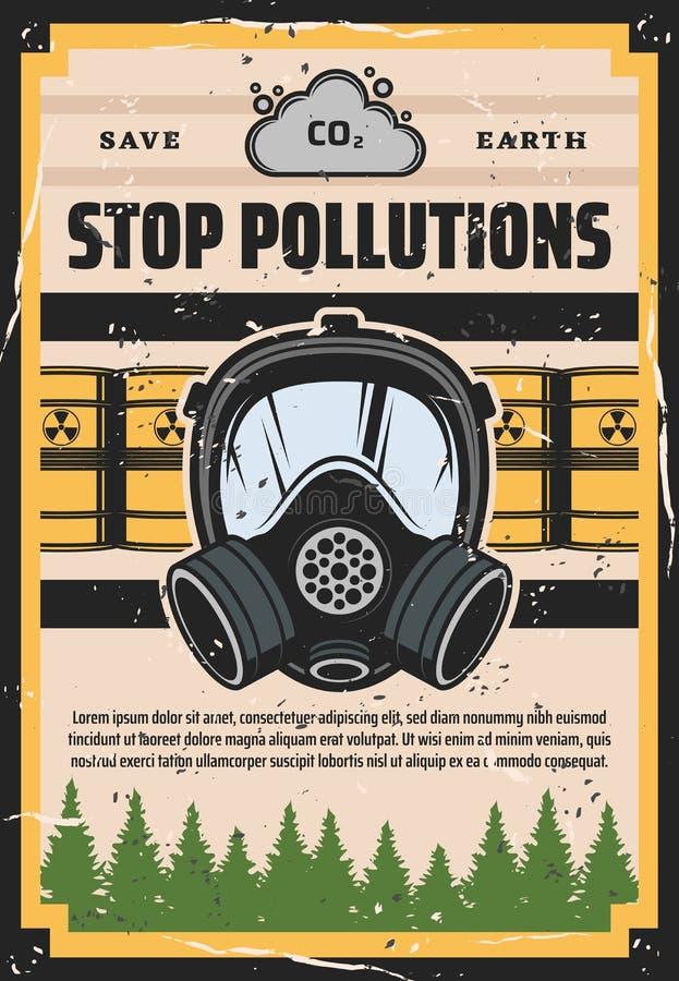 Eindeverontreiniging, ecologie, milieuverontreiniging stock illustratie