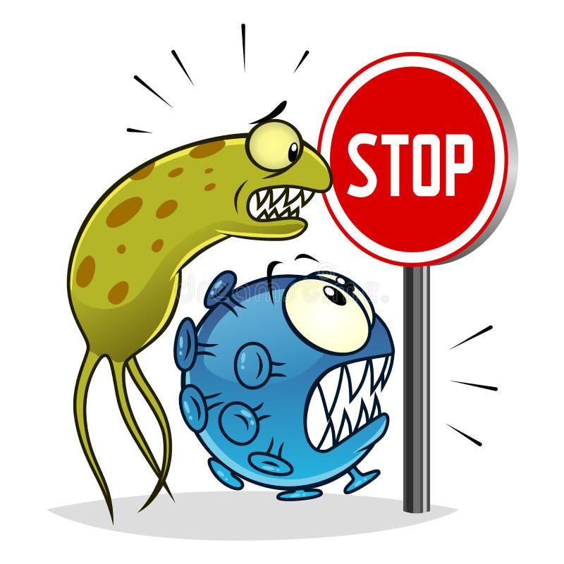 Eindevirussen en bacteriën royalty-vrije illustratie
