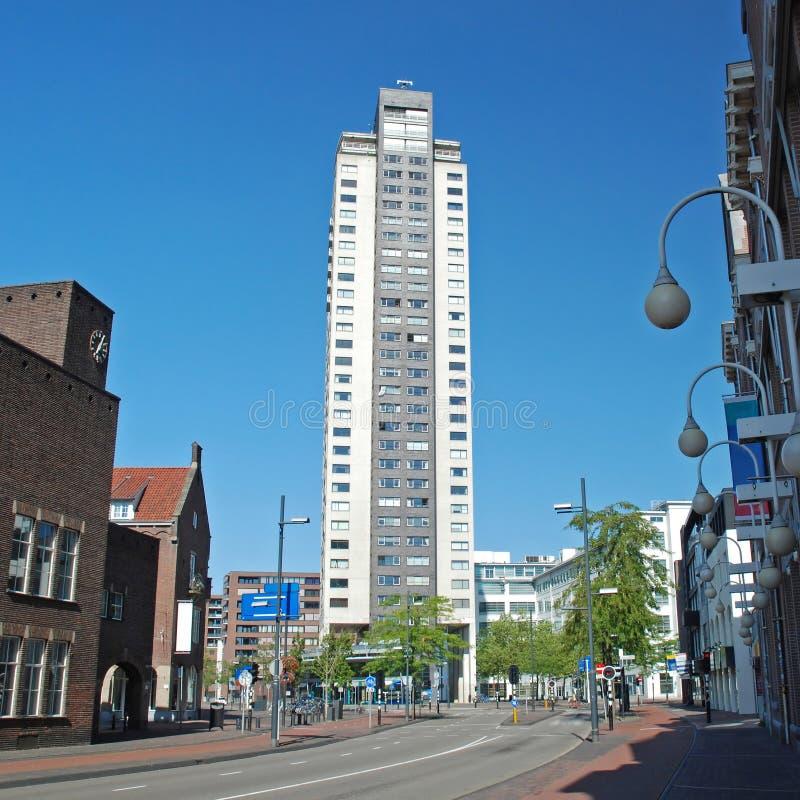 Eindhoven centre-High Regent building-Witte Dame. Eindhoven centre- Netherlands - City Vieuw from Emmasingel to skyscraper Regent -Witte Dame royalty free stock photos