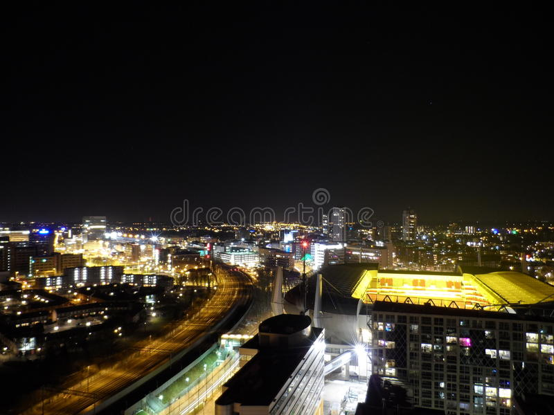 Eindhoven Centre at nighttime (rooftop) stock photography