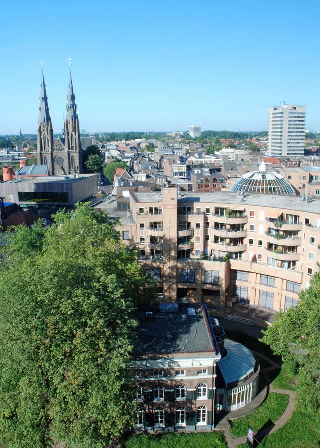 Eindhoven city centre -Netherlands - View from hei. City centre Eindhoven-Netherlands- View from height with view downtown from vestdijk to Catholic Catherine stock images