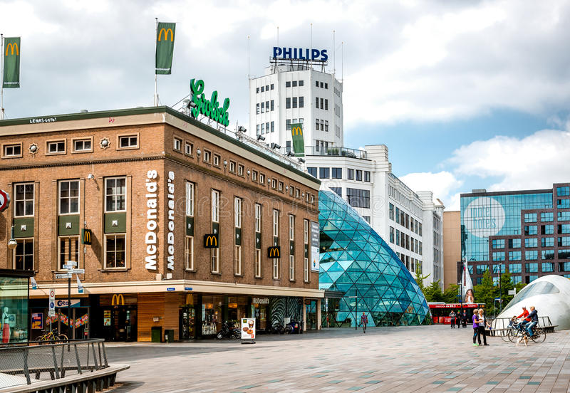 Eindhoven main commercial square stock photography