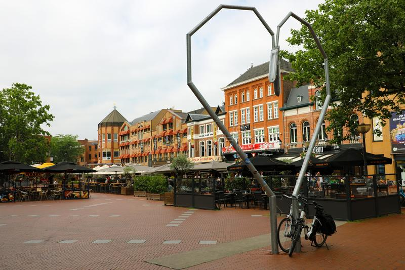 EINDHOVEN, NETHERLANDS - JUNE 5, 2018: heart shaped lamps in Markt square, Eindhoven, Netherlands royalty free stock images