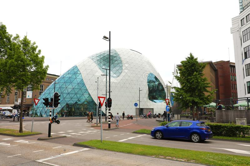 EINDHOVEN, NETHERLANDS - JUNE 5, 2018: view of modern futuristic building in the city centre of Eindhoven, Netherlands royalty free stock photo