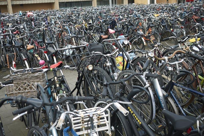Bike parking near railway station stock photo