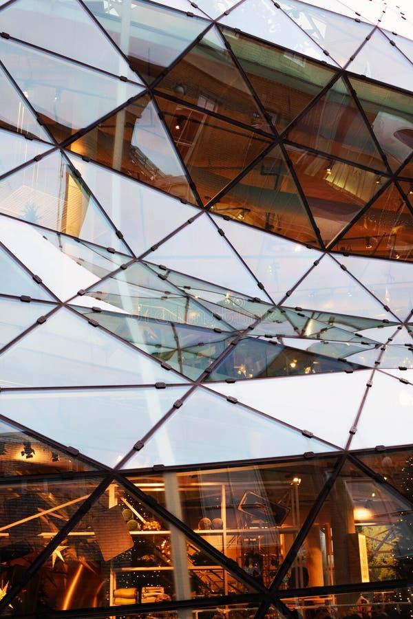 Beautiful modern glass building.De Blob Shopping Center in Eindhoven, Netherlands. Golden. Eindhoven, Netherlands, November 2019. Beautiful modern glass building stock photo