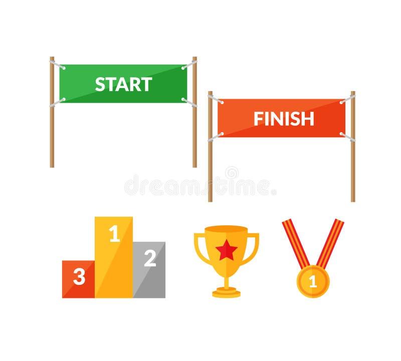 Eindigt het vlakke die pictogram van de sportconcurrentie met Begin wordt geplaatst vector illustratie