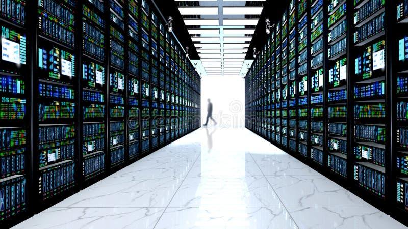 Eindmonitor in serverruimte met serverrekken in datacenter stock illustratie