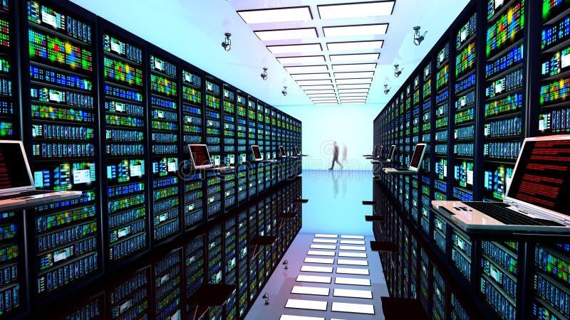 Eindmonitor in serverruimte met serverrekken in datacenter royalty-vrije illustratie