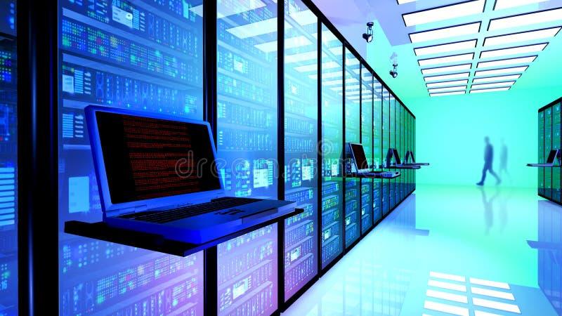 Eindmonitor in serverruimte met serverrekken in datacenter stock foto's