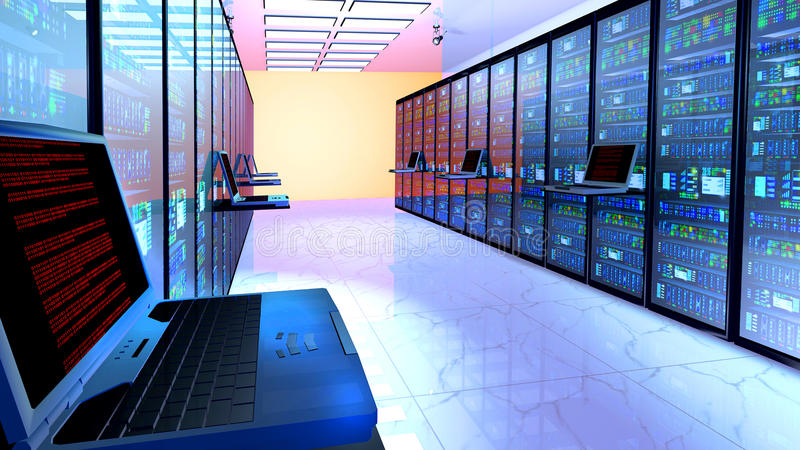 Eindmonitor in serverruimte met serverrekken in datacenter stock afbeeldingen