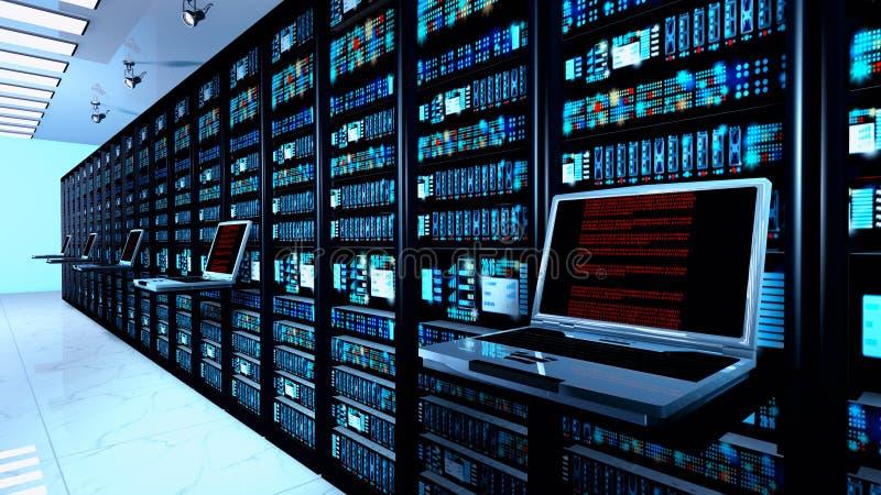 eindmonitor in serverruimte met serverrekken in datacenterbinnenland stock foto
