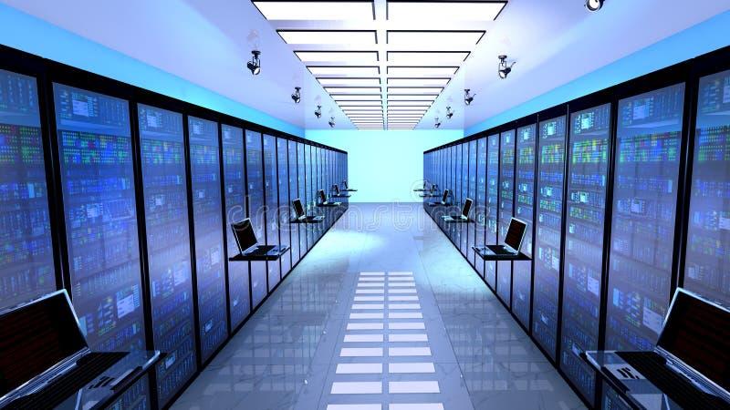 eindmonitor in serverruimte met serverrekken in datacenterbinnenland stock fotografie