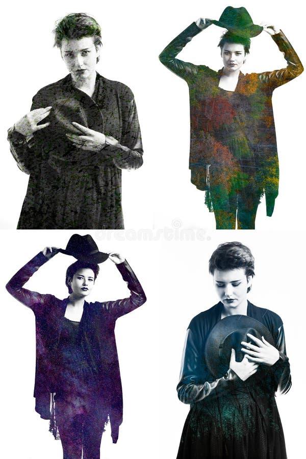 Eindrucksvolles schönes multi exsposure Porträt des Mädchens in der dunklen Kleidung stockbilder