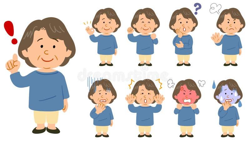 Eine ältere Frau in einem blauen Cutaway Satz von neun Haltungen lizenzfreie abbildung