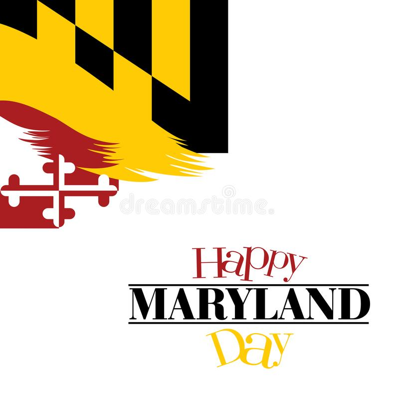Eine abstrakte Illustration glücklichen Maryland-Tages in seiner Flagge färbt Hintergrund vektor abbildung