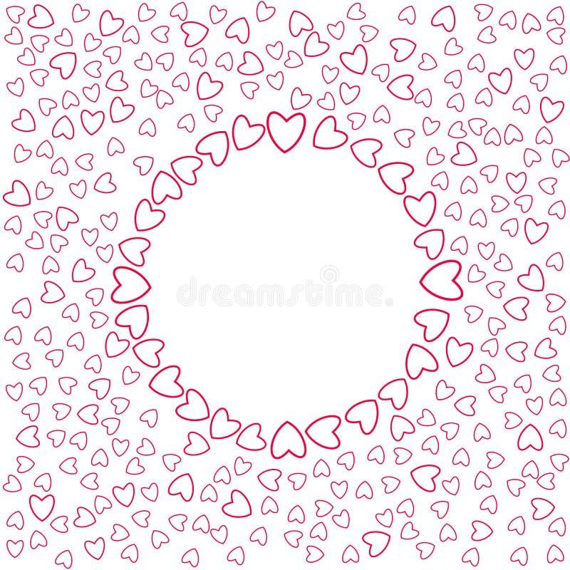 Eine abstrakte Liebe des kleinen Herzrahmens auf einem weißen Hintergrund Für Postkarte Einladung, Plakat für Geburtstag, Valenti lizenzfreie abbildung