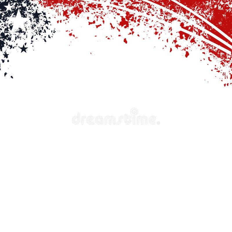 Eine abstrakte Titelillustration von Flaggenfarben Vereinigter Staaten mit Sternenbanner in der Schmutzart vektor abbildung
