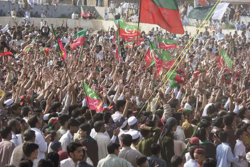 Eine allgemeine Versammlung einer politischen Partei in Pakistan stockbilder