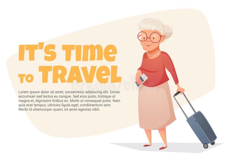Eine alte Frau mit einem Koffer in ihrer Hand lizenzfreie abbildung