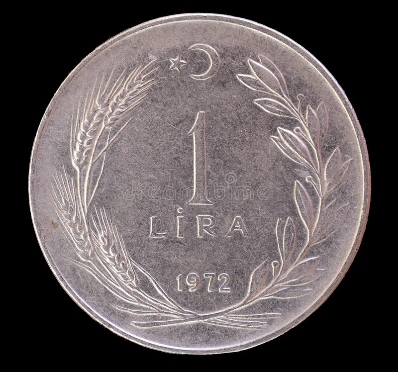 Eine alte Münze der türkischen Lira, 1972 stockfoto